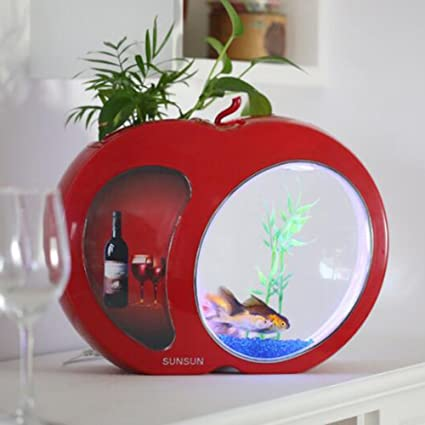 D@Qyy Mini Tanque De Peces Acuario Self Cleaning Fish Tank Bowl Conveniente Acrílico Escritorio