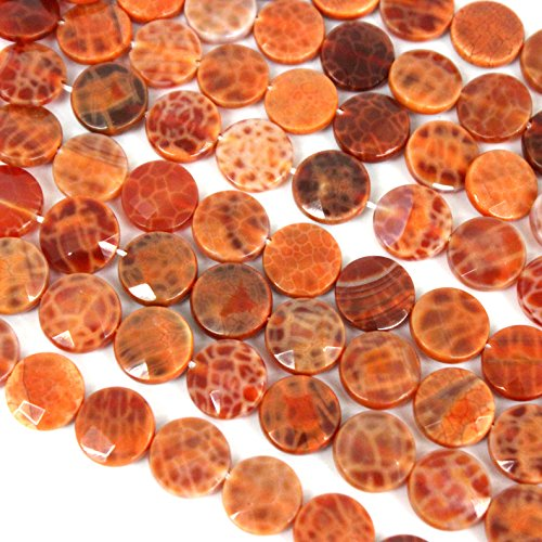 fashiontrenda Faceted Natural Fire Agate Flat Coin 12mm Gemstone Loose Beads