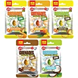 Grenades Explosively Strong Sugar-Free Gum - Intense Minty Blast That'll Blow You Away - Breath Freshening & Long Lasting Flavor - Tropical Fruit & Coffee Gum Variety Pack of 5 (150 Pieces)
