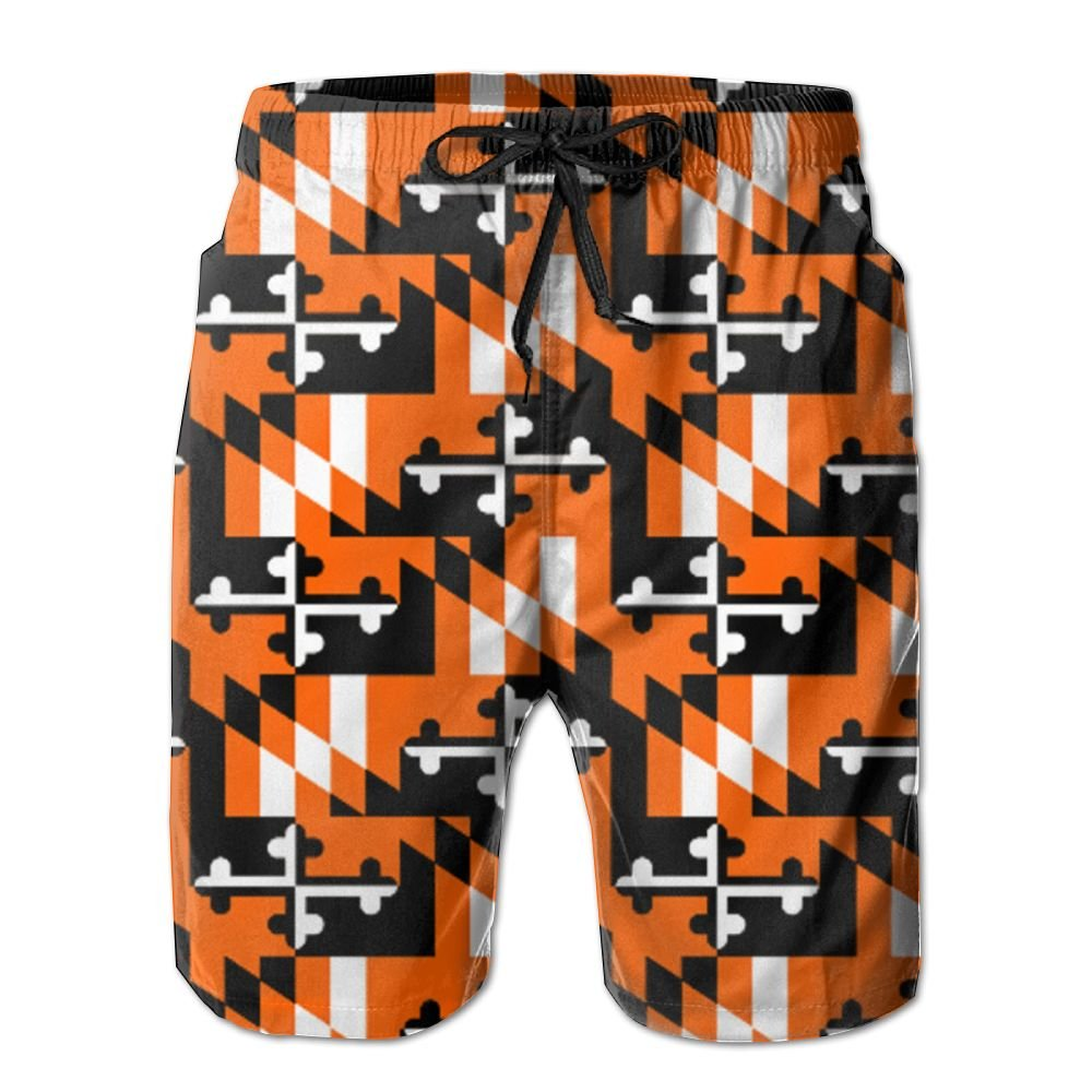 Horizon-t Beach Shorts Flamingos Mens Fashion Quick Dry Beach Shorts Cool Casual Beach Shorts