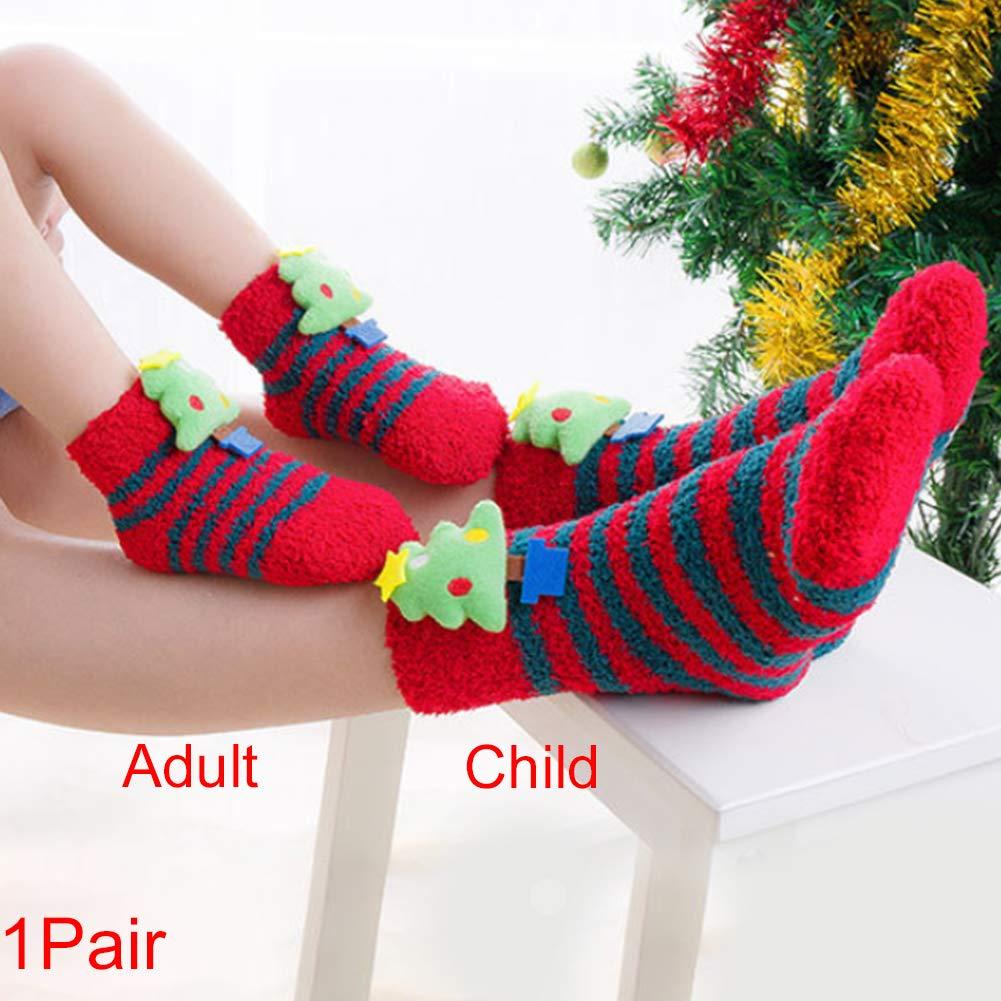 ZAK168 Christmas Cute 3D Modello Fluffy Velvet Calzini, Thicked Invernale Caldo Morbido Elastico Antiscivolo Calze di Natale per Mamma e Bambino, Christmas Tree, Adulti