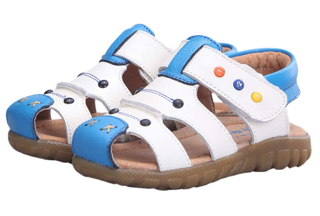 Happy Cherry Genuine Cow Leather Unisex Child Pure Leather Baby Toddler Soft Bottom Indoor Crib Shoes Size 9.5 White with Blue