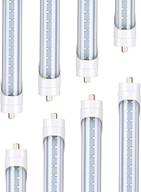 6-Pack 8FT 60W T8 LED Tube Light,Daylight White 6500k G13 Bi-pin Base Clear Cover 8 Foot LED Bulbs to Replace T10 T12 Fluorescent Light Bulbs,Dual-Ended Power AC100-277V V-Shaped Double Row LEDs