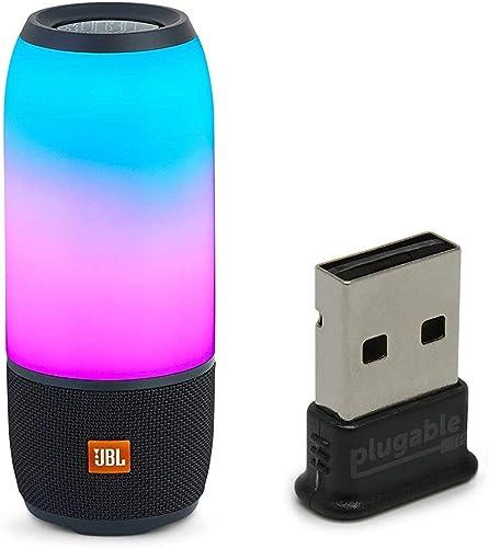 JBL Pulse 3 Wireless Bluetooth IPX7 Waterproof Speaker Bundle with USB 2.0 Bluetooth Adapter – Black