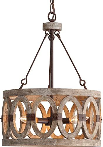 PHILOMENA 3-Light Wooden Chandelier Decorative Lighting Fixture Retro Rustic Ceiling Lamp Orb Wood Chandelier