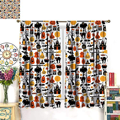 (Anniutwo Halloween Blackout Curtain Halloween Icons Collection Candies Owls Castles Ghosts October 31 Theme Waterproof Window Curtain Orange Yellow Black W72 x L63)