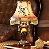 MILUCE Table Lamp Resin 35.5 58cm Retro American Village Classical Pastoral Study Living Room Warm European Bedroom Bedside Lamp
