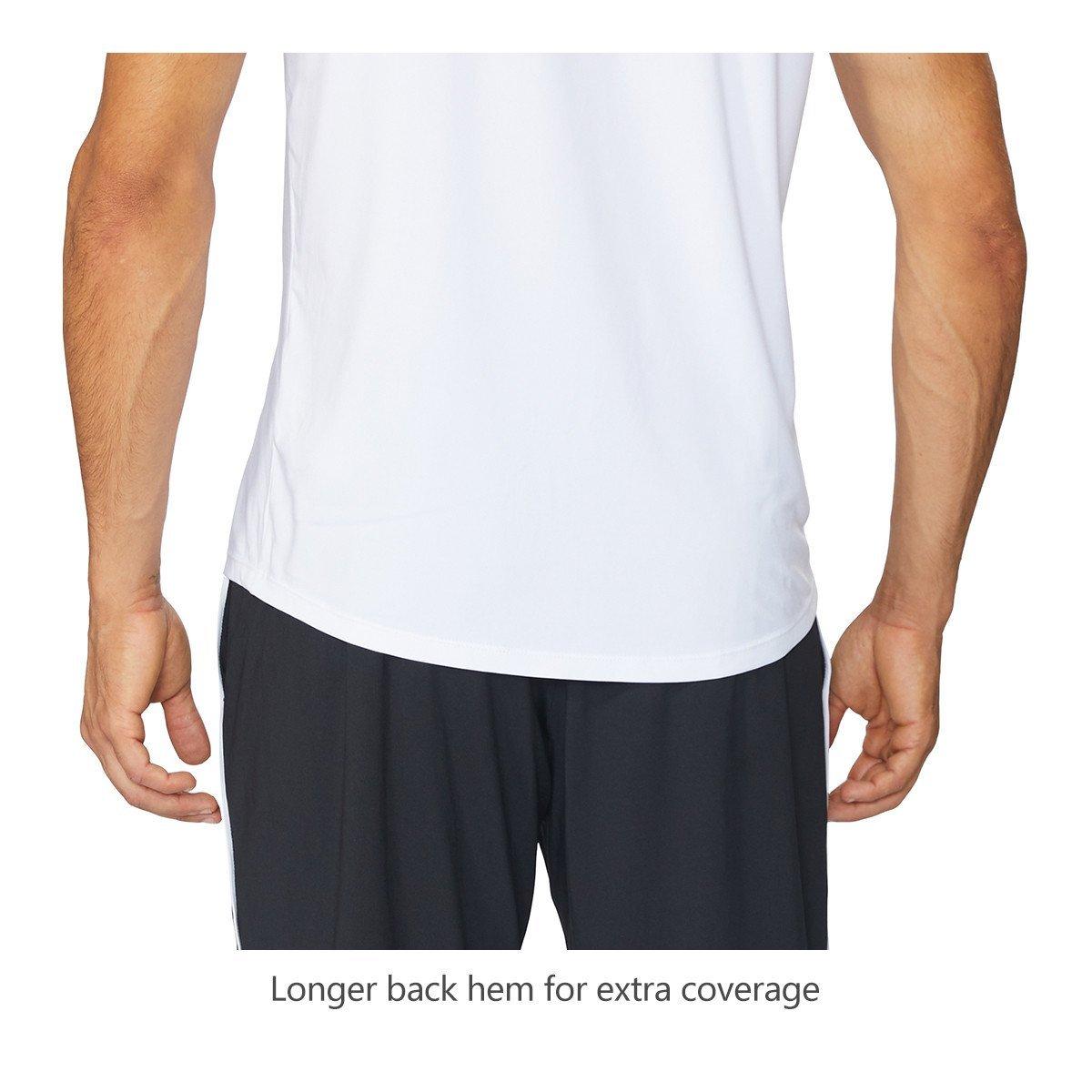 Baleaf Men's Quick Dry Short Sleeve T-Shirt Running Fitness Shirts White Size M by Baleaf (Image #6)