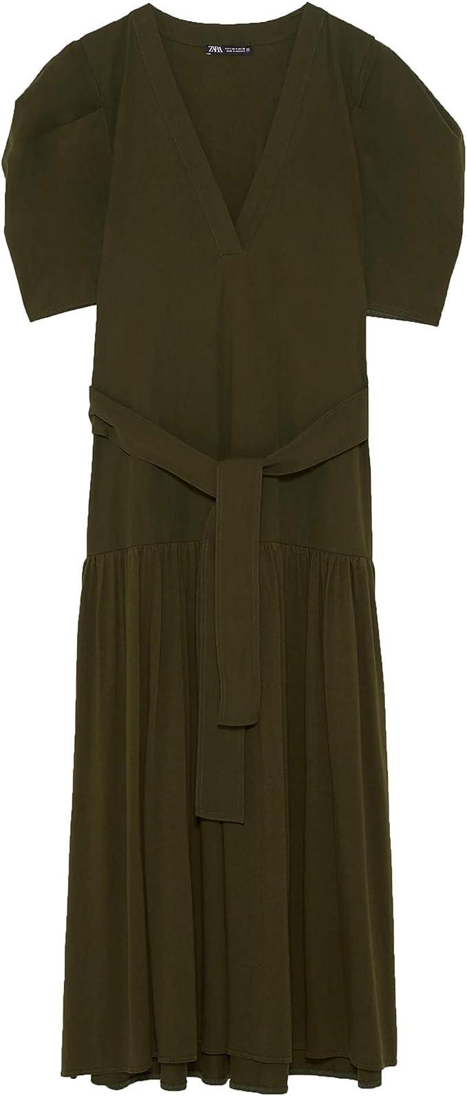 Zara 0387/155 Vestido rústico a Rayas para Mujer - Marfil - X ...