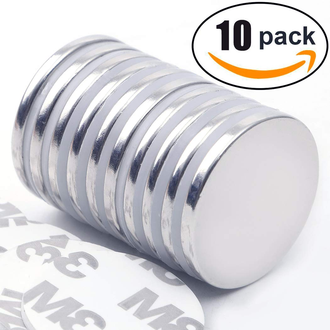 Super Strong Neodymium Disc Magnets with Double-Sided Adhesive, Powerful Permanent Rare Earth Magnets, Fridge, DIY, Building, Scientific, Craft, Office Magnets, 1.26'' D x 1/8'' H - Pack of 10