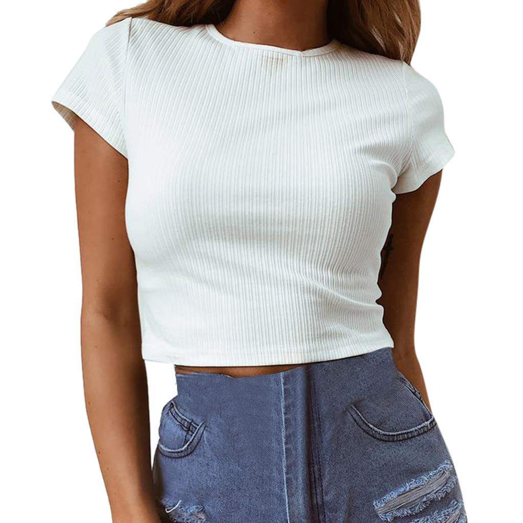 Women's Basic Short Sleeve Shirt Solid Scoop Neck Tight Tops Casual Blouse Under 10 (S) White