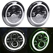 TRUCKMALL 7 Inches LED Headlights Bulbs SAE Approved 6000K White/Green Halo Angel Eye Ring & DRL & Turn Signal Lights for Jeep Wrangler JK LJ CJ Hummer H1 H2 Harley Davidsion (Pack of 2)
