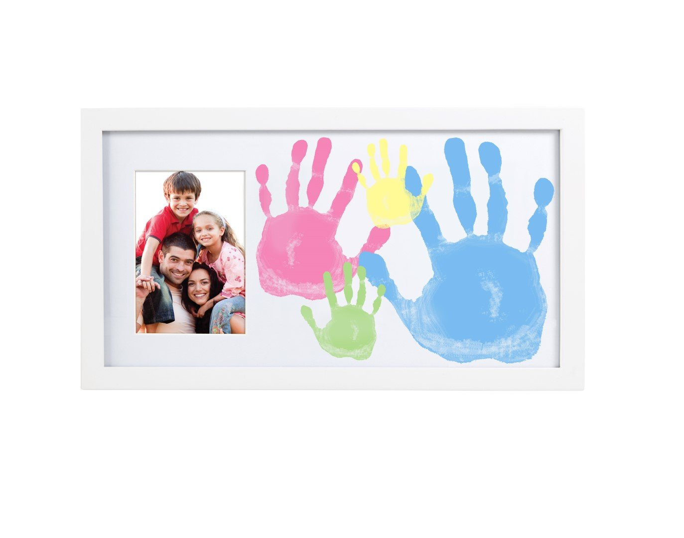 Pearhead DIY Family Handprint and Photo Keepsake Frame Kit, White