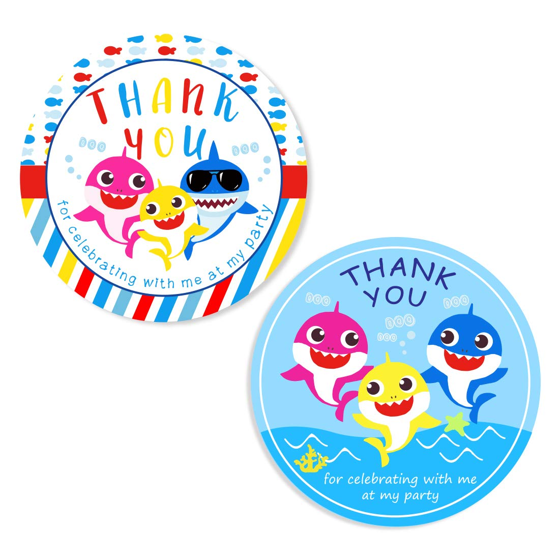 Jollyboom Shark Thank You Stickers Shark Party Supplies ...