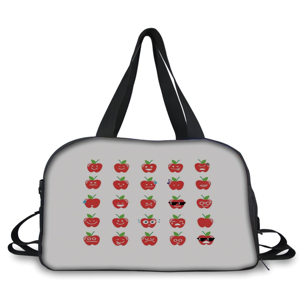 Travelling bag,Emoji,Apple with Facial Expressions Happy Sad with Glasses Singing Confused Pattern Decorative,Red Green Black ,Personalized