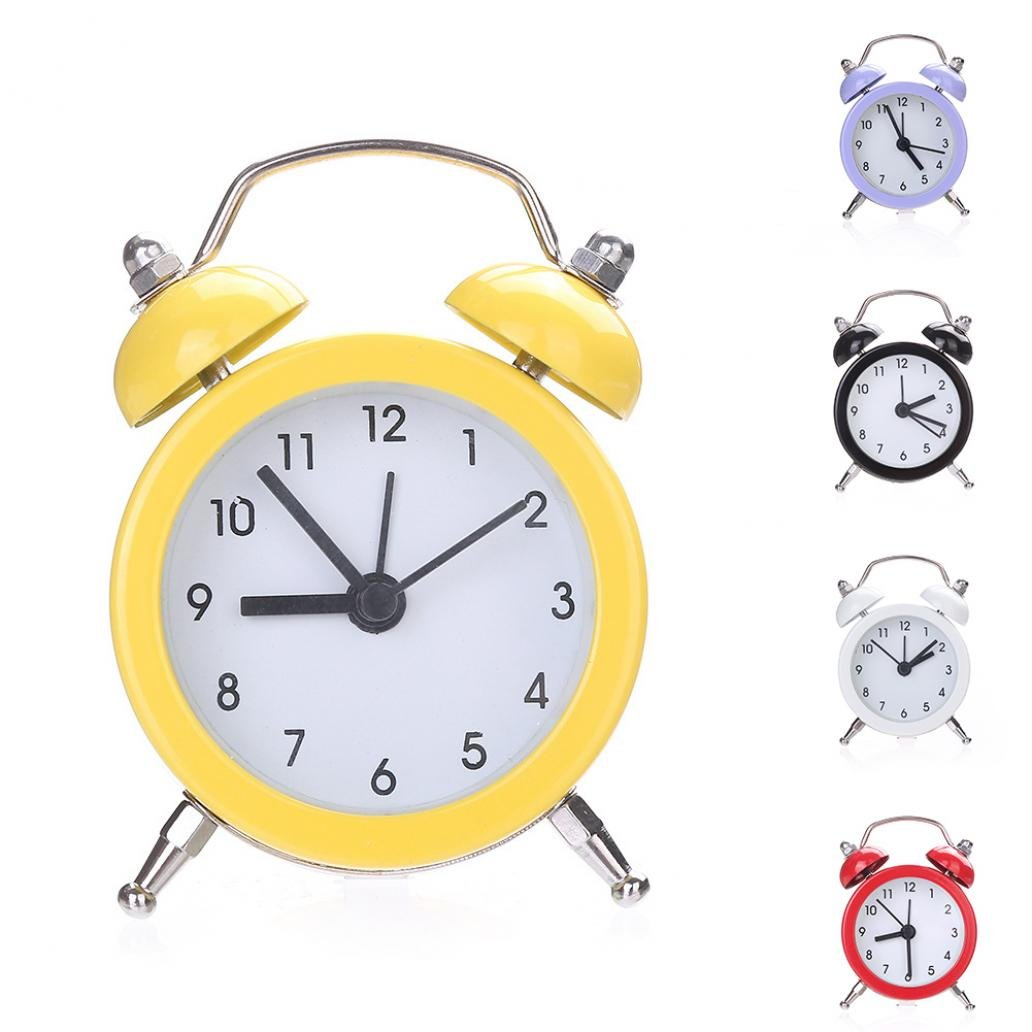 Yeshi Mini Round Shape Metal Twin Bell Alarm Clock Desk Stand Clock for Home Room Kitchen Office (Black)