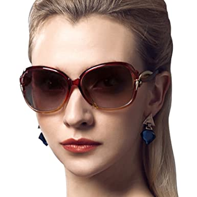 9b2cd7793c Image Unavailable. Image not available for. Colour  Duco Women s Stylish  Polarized Sunglasses Star Glasses 100% UV Protection 2229 Brown