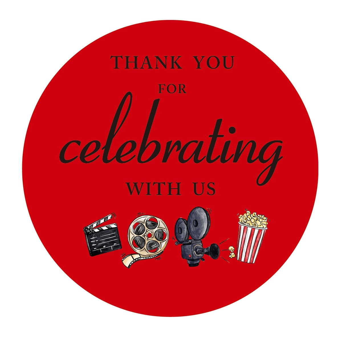 Movie night thank you stickers, cinema theater Hollywood themed birthday or other party favor sticker labels, 2 inch, 40-Pack