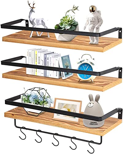 Rustic Floating Shelves Wall Mounted with Rails for Living Room, Bedroom, Bathroom, Kitchen Decor and Storage, Set of 3