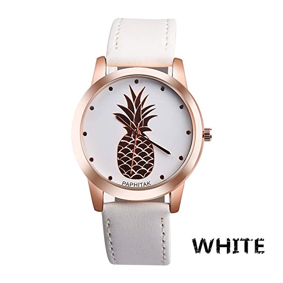 JiaMeng Reloj de Pulsera de Cuarzo analógico de Cuero de imitación de piña para Hombre(