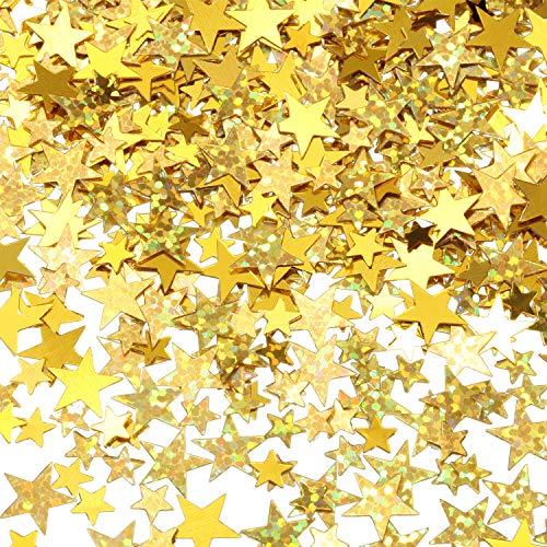 60 g Star Confetti Glitter Star Table Confetti Metallic Foil Stars for Party Wedding Festival Decorations(Glitter Gold Set, 10mm and 6mm) (G Star Kids)