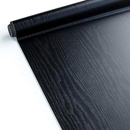 Homein Papel Adhesivo para Muebles Pegatina Vinilo Negro PVC Decorativo Armario, Pared Electrodomésticos Cocina,