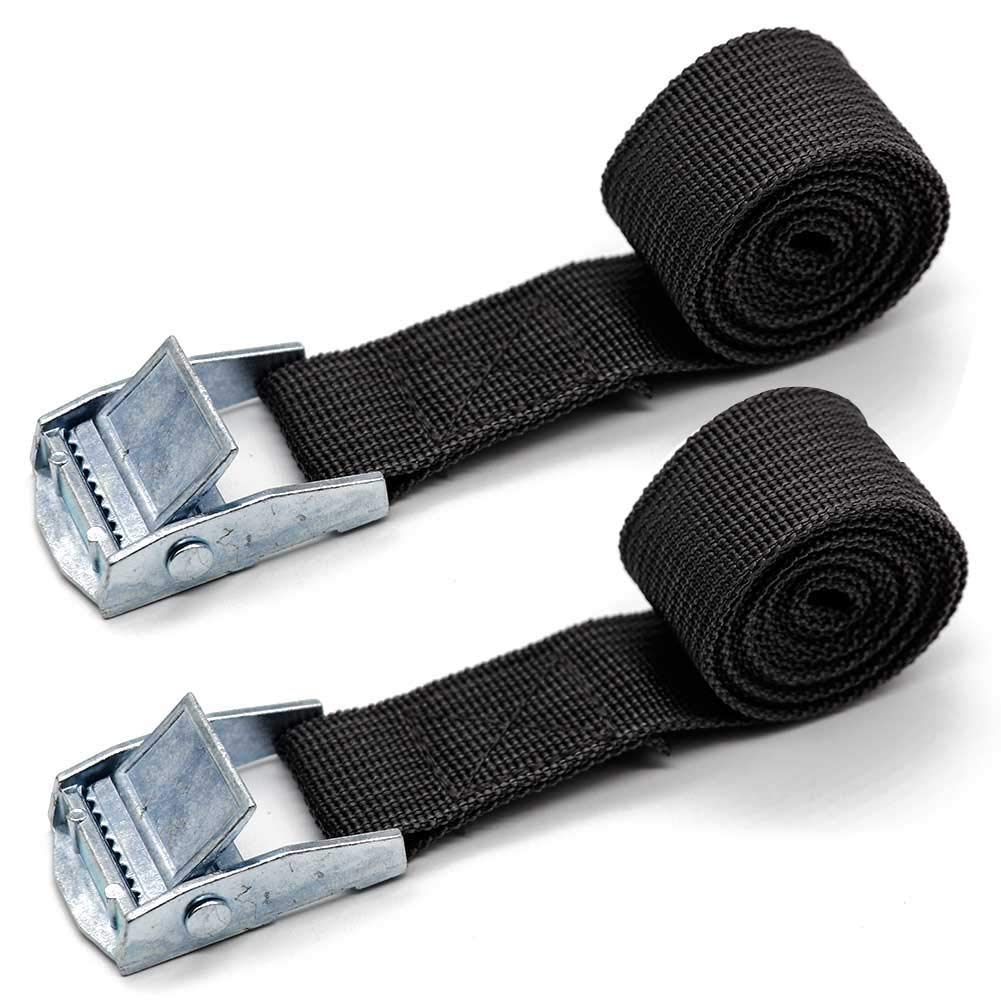 Pack of 2 Lashing Straps with Buckle Good for Roof-top Tie Down with Kayaks, Canoes, Carriers and Other Roof Mounted Luggage Cargo (1M x 2.5cm) H.W.T