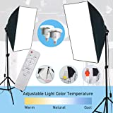 VOLKWELL Softbox LED Lighting Kit 2X85W Bulbs Professional Photography Continuous Light Studio Equipment with E27 Socket and 2x20x28inch Reflectors for Portrait Product Fashion Shooting.
