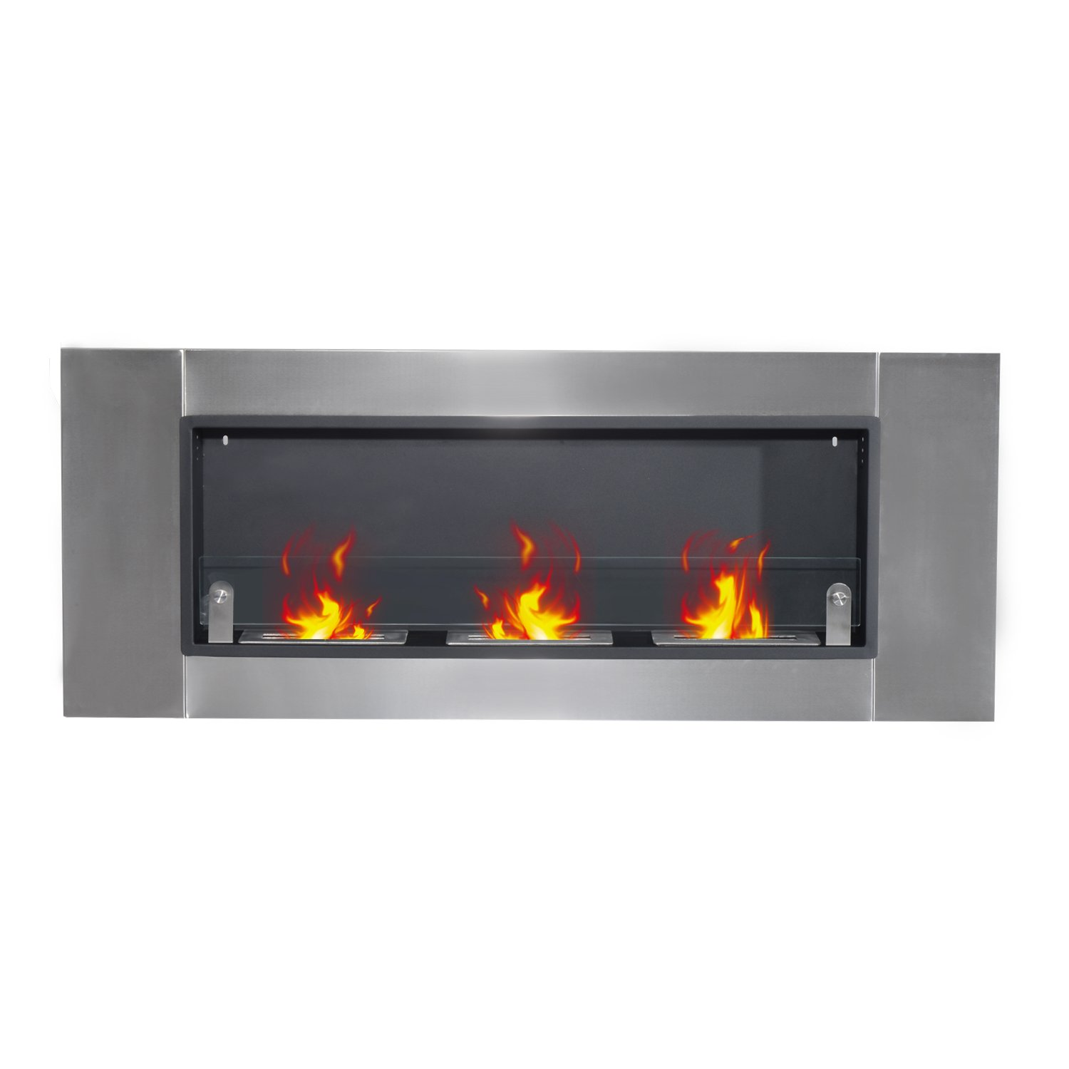 homcom 53 5 u201d wall mounted bio ethanol fireplace with three 1 5l