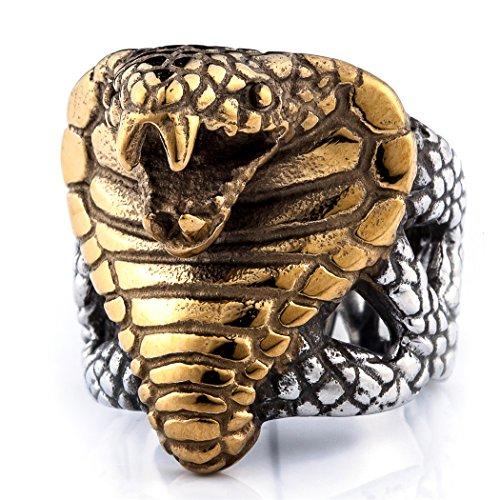 Coostuff Vintage Rock Punk Men Jewelry cobra Ring Stainless Steel Rings for Men