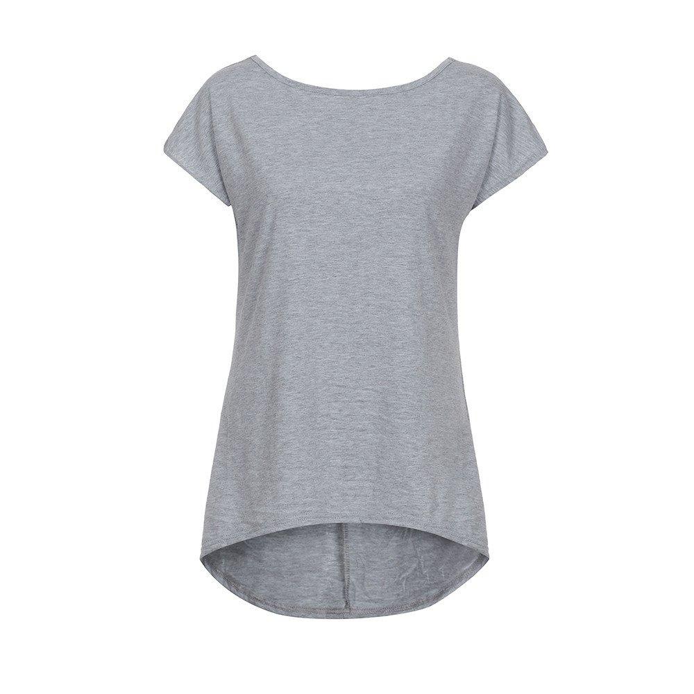 Women T-Shirts Casual Short Sleeve Lady Sexy Open Back Short Sleeve T-Shirt Gray