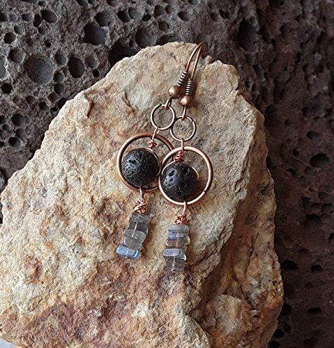 - Labradorite and Lava Stone Essential Oil Diffuser Earrings Copper