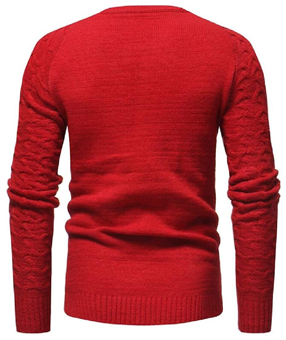 WSPLYSPJY Mens Autumn Slim Solid Pullover Round Neck Knitted Sweaters