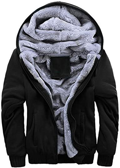 XTX Mens Button Up Outwear Warm Classic Linen Fleece Down Jacket Coat Black L