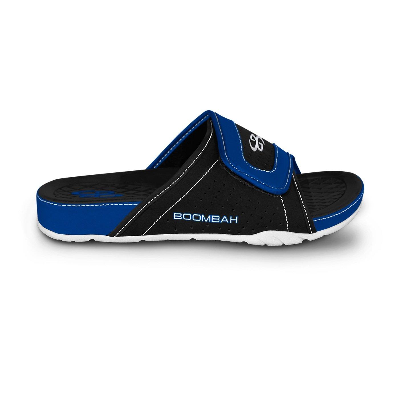 Boombah Men's Tyrant Slide Sandals - 32 Color Options - Multiple Sizes B077NK4VRH 12|Black/Royal