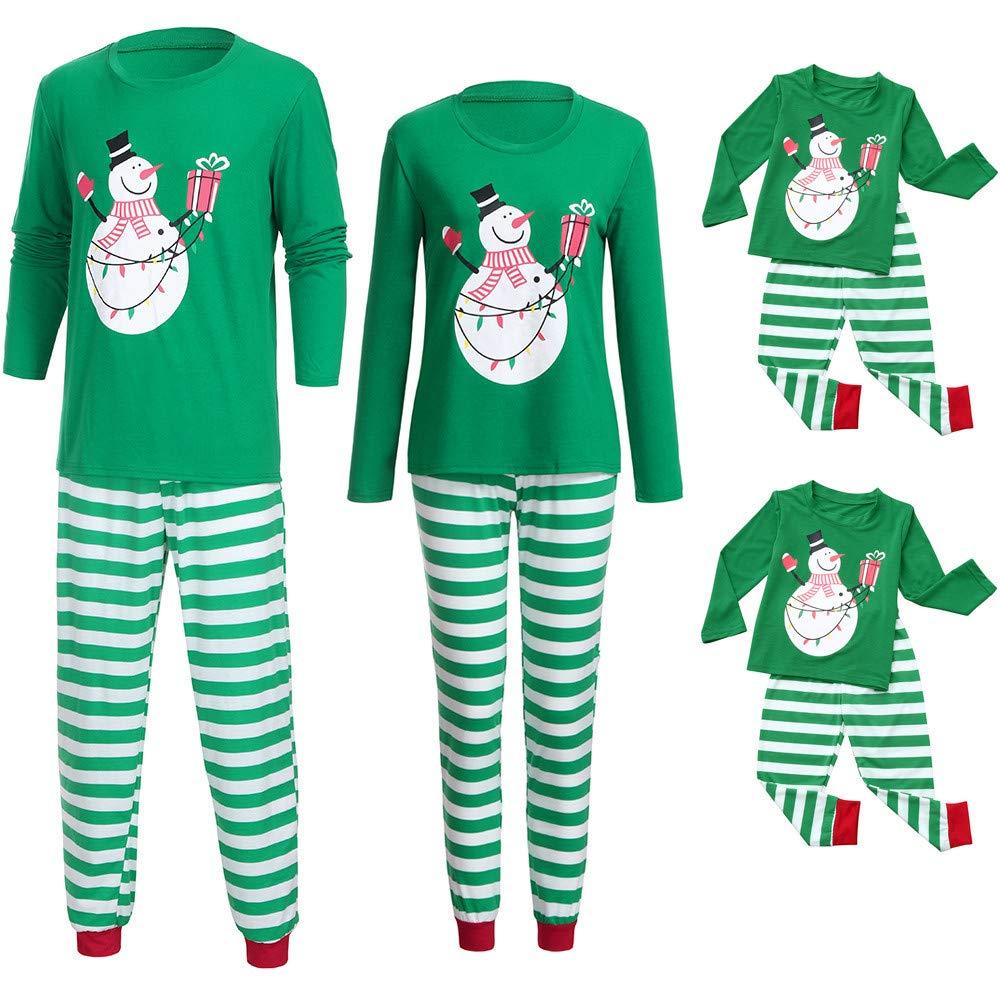 Familien Pyjama Schlafanzug Weihnachten Eltern-Kind Familie Set Mama Dad Christmas Outfit Baby Kid Weihnachtsoutfit Nachtw/äsche Schneemann Weihnachten Langarm Top Streifen Hosen Set