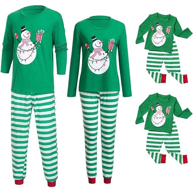 Ansenesna Weihnachten Familien Outfit Pyjama Vater Mutter Kind Baumwolle Elegant Kleidung Set Gestreift Hose und Tops