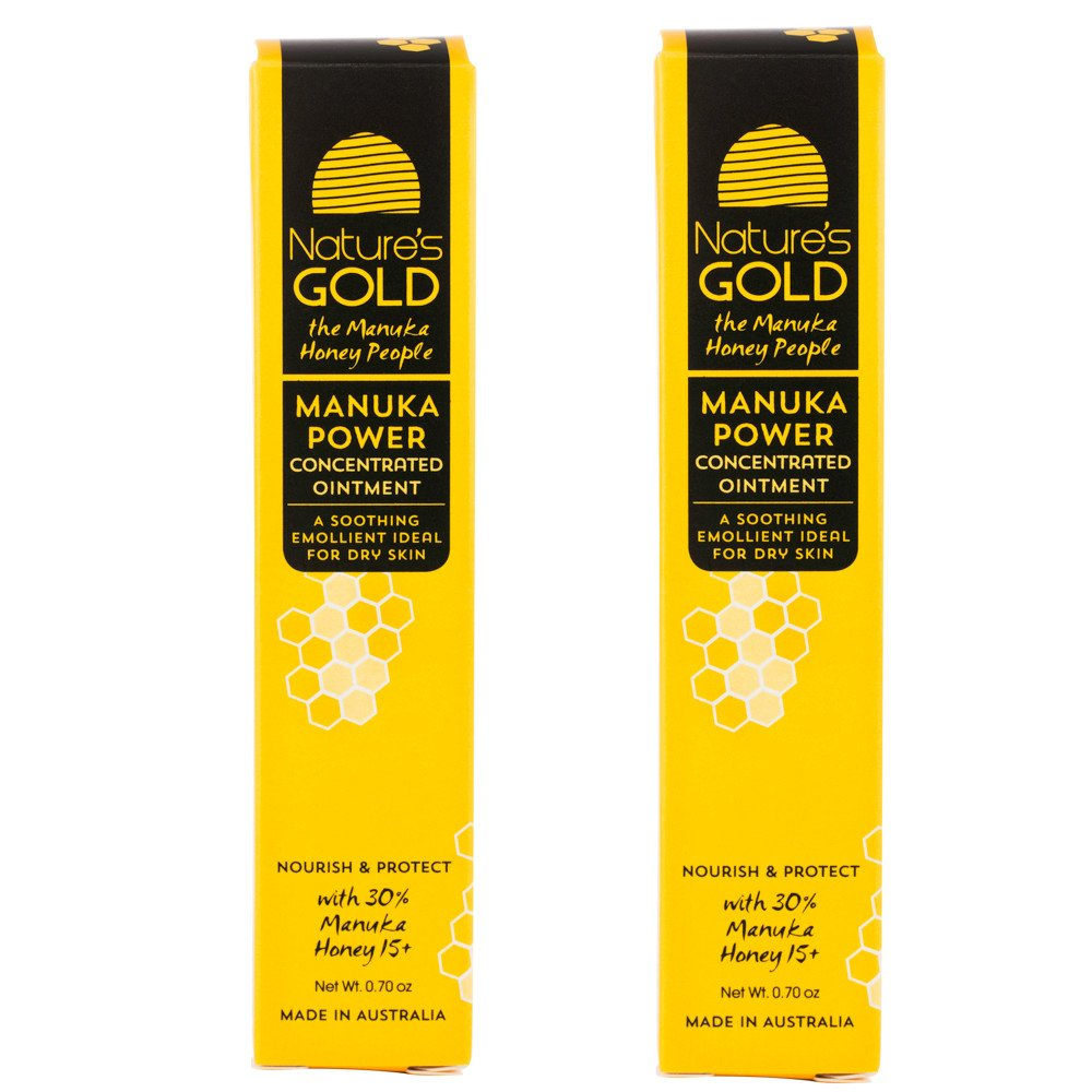 Manuka Honey Active 15+ Healing Concentrated Ointment Twin Pack- Manuka Honey for Skin and Wound Care - Face and Body - Dry Irritated Skin - by Nature's Gold