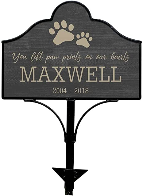 and /'Her Paws Left Prints On Our Hearts/' dates paw prints silhouette Personalized with name