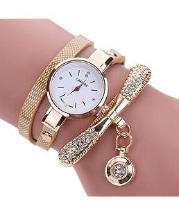 Luxsea Watch New Fashion Bracelet Watches Shiny Leather Rhinestone Watch with Pendant Women Accessories