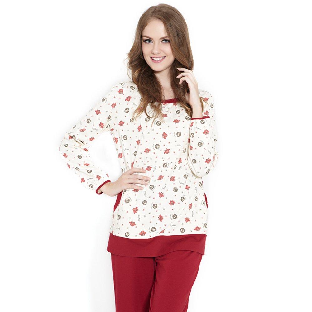 A PLMWQAVDFN Ms. Round Neck Cartoon Casual Tracksuit Pajamas Piece Fitted Jacket Pants Pajama Set
