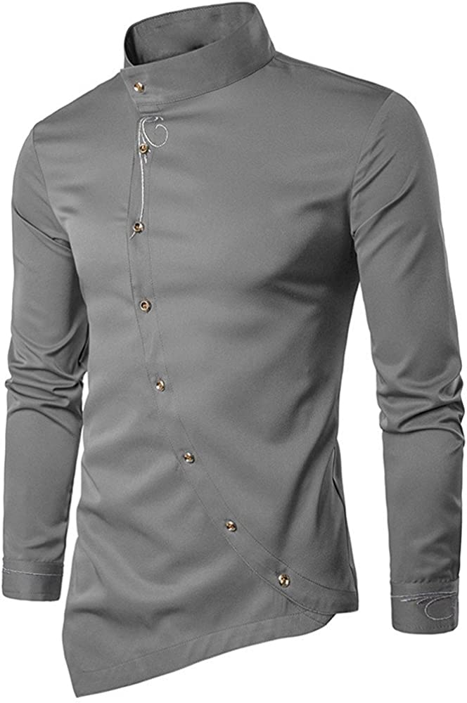 Men/'s Luxury Slim Fit Long Sleeve Wedding Formal Everyday Business T-shirt Tops