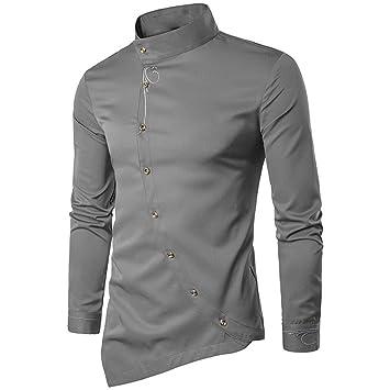 Hombre camisa manga larga Otoño,Sonnena ❤ Camisa casual de manga larga con ajuste irregular para hombre de Silm Blusa Tops Camiseta de bordado: ...
