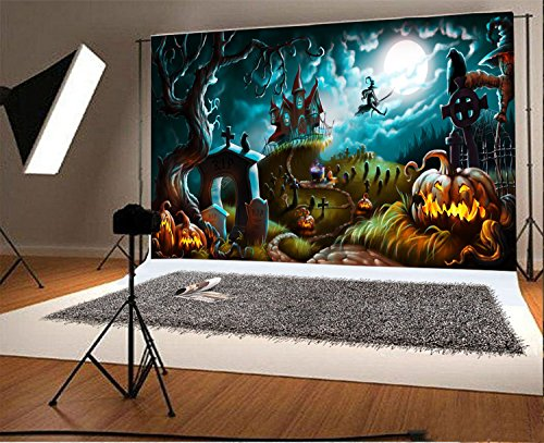 8x6.5FT Laeacco Vinyl Photography Background Halloween Night Mystery Graveyard Illustration Ghost Tree Haunted House Cross Grimace Pumpkin Scary Night Moon Backdrop Children Photo Portrait Shoot]()