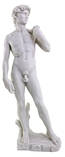 Top Collection Large 19.75 Inch Tall Michelangelo s David Statue Sculpture. Premium Resin – White Marble Finish. Ships Immediately.