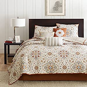 Madison Park Tissa 6 Piece Quilted Coverlet Set, Full/Queen, Ivory