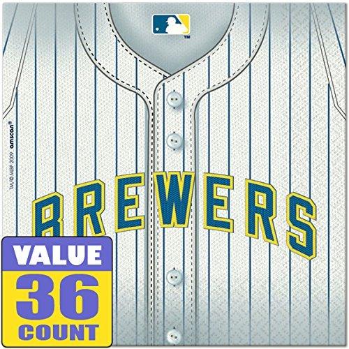 Amscan Milwaukee Brewers Major League Baseball Collection Luncheon Napkins, 432 Ct.