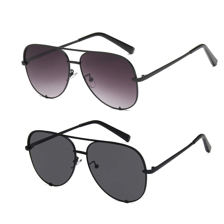 8c4dc7ef6ee8 Amazon.com: SORVINO Brand Designer Aviator Sunglasses for Women Classic  Oversized Pilot Sun Glasses UV400 Protection (A-2pack-Black+Fade, 60):  Clothing