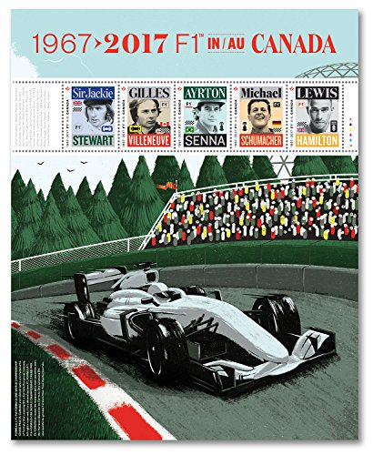 Formula 1 Grand Prix 50th Anniversary (1967-2017) Pane of Canadian Postage Stamps by Canada (Canada Post)
