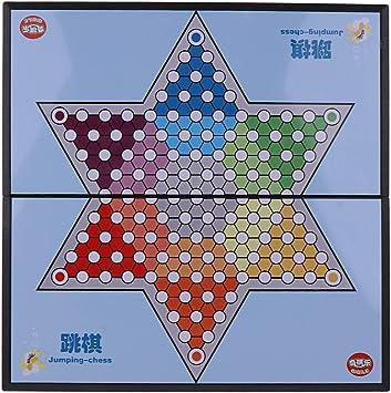 non-brand Damas Chinas con Tablero Plegable Grande Juego de Mesa de Estrategia Clásico: Amazon.es: Juguetes y juegos